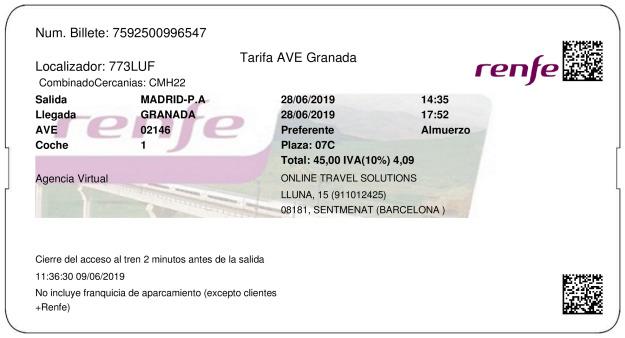 Billete Tren Madrid  Granada 28/06/2019