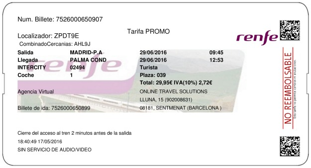 Billete Tren Madrid  La Palma Del Condado 29/06/2016