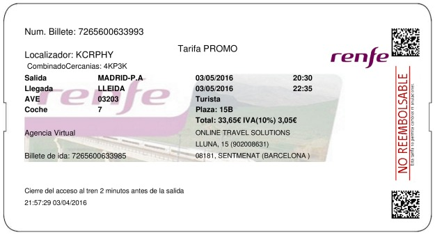 Billete Tren Madrid  Lleida 03/05/2016