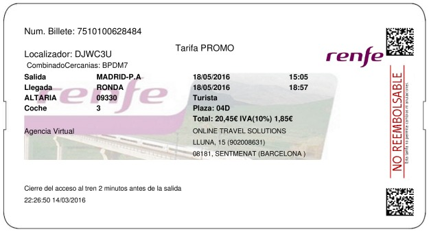 Billete Tren Madrid  Ronda 18/05/2016