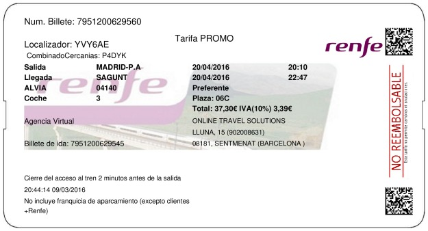 Billete Tren Madrid  Sagunto 20/04/2016