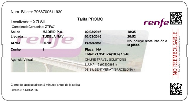 Billete Tren Madrid  Tudela De Navarra 02/03/2016