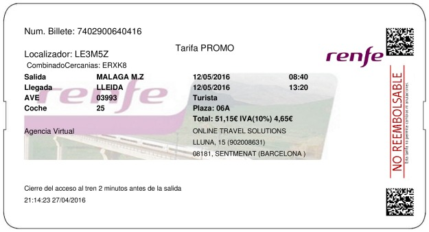 Billete Tren Málaga  Lleida 12/05/2016