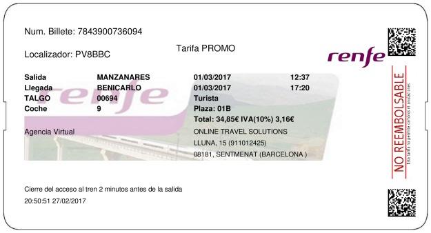 Billete Tren Manzanares  Benicarló 01/03/2017