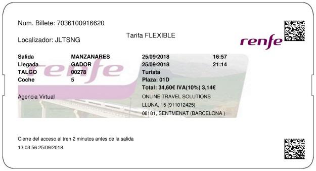 Billete Tren Manzanares  Gádor 25/09/2018