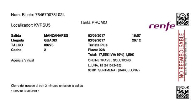 Billete Tren Manzanares  Guadix 03/09/2017