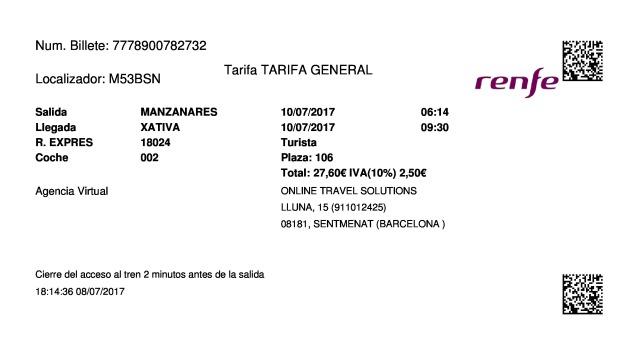 Billete Tren Manzanares  Xàtiva 10/07/2017