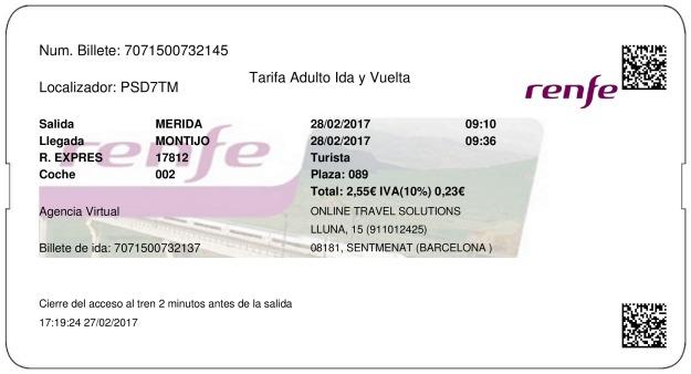 Billete Tren Mérida  Montijo 28/02/2017