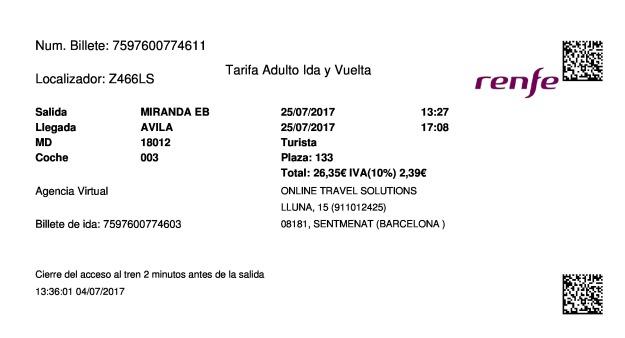 Billete Tren Miranda De Ebro  Ávila 25/07/2017