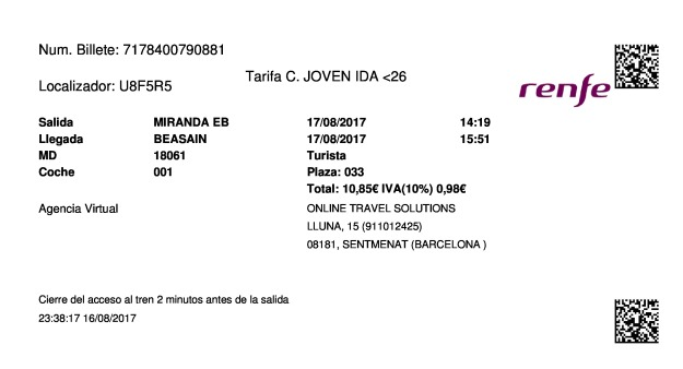 Billete Tren Miranda De Ebro  Beasáin 17/08/2017