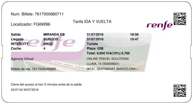 Billete Tren Miranda De Ebro  Burgos 31/07/2016