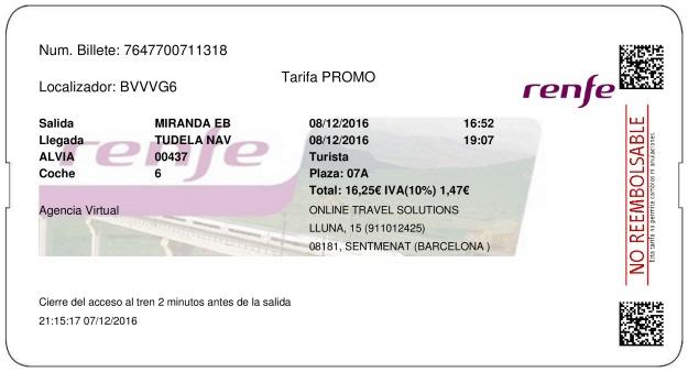 Billete Tren Miranda De Ebro  Tudela De Navarra 08/12/2016
