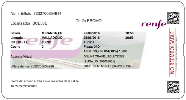 Billete Tren Miranda De Ebro  Valladolid 25/06/2016