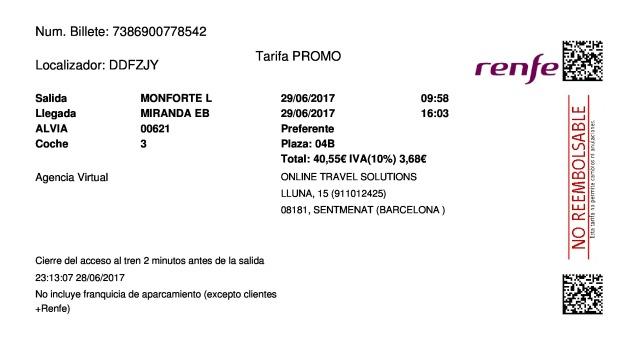 Billete Tren Monforte de Lemos  Miranda De Ebro 29/06/2017