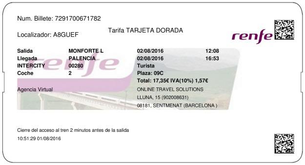 Billete Tren Monforte de Lemos  Palencia 02/08/2016
