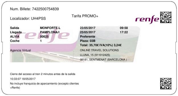 Billete Tren Monforte de Lemos  Pamplona 23/05/2017
