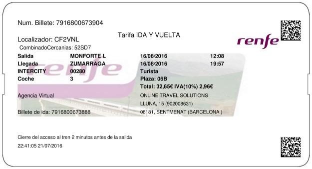 Billete Tren Monforte de Lemos  Zumárraga 16/08/2016