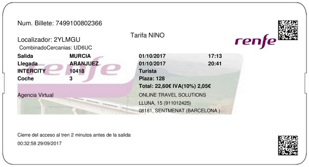 Billete Tren Murcia  Aranjuez 01/10/2017