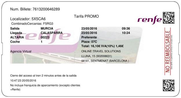 Billete Tren Murcia  Calasparra 23/05/2016