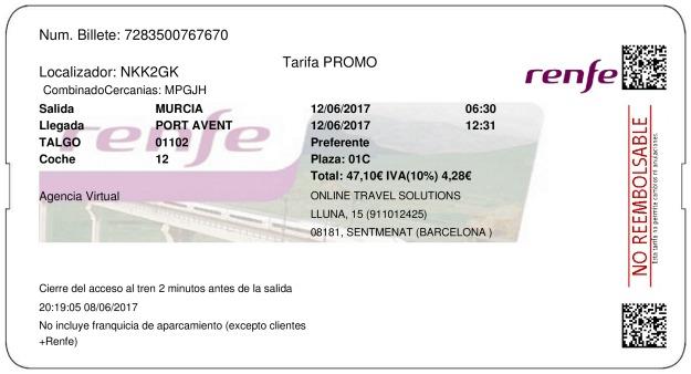 Billete Tren Murcia  Port Aventura 12/06/2017
