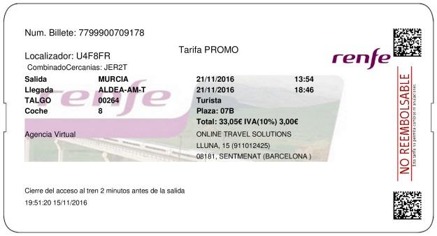 Billete Tren Murcia  Tortosa 21/11/2016