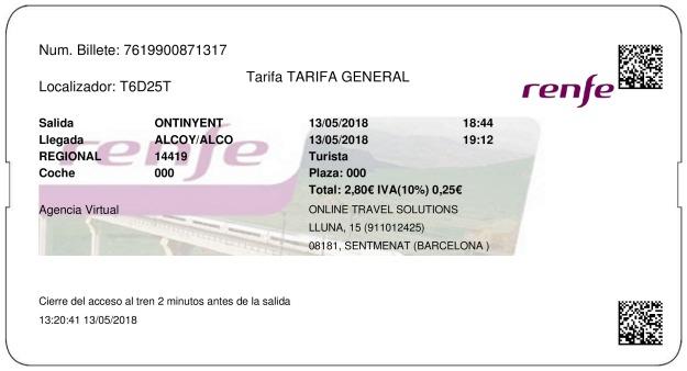 Billete Tren Onteniente  Alcoy 13/05/2018