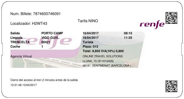 Billete Tren Oporto  Vigo 16/04/2017