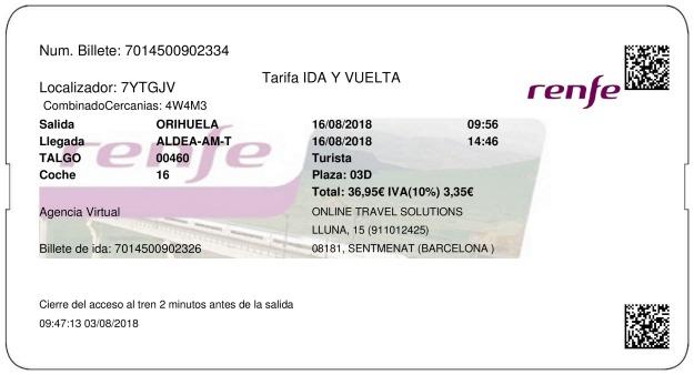 Billete Tren Orihuela  L'Aldea 16/08/2018
