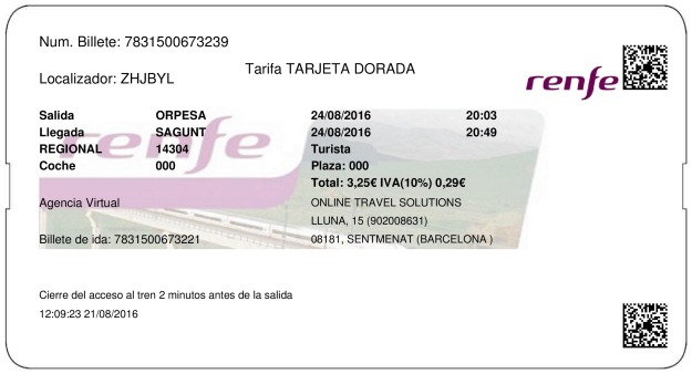 Billete Tren Oropesa Del Mar  Sagunto 24/08/2016