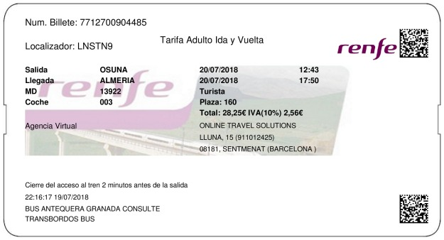 Billete Tren Osuna  Almeria 20/07/2018