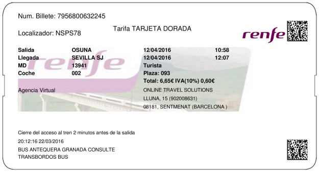 Billete Tren Osuna  Sevilla 12/04/2016