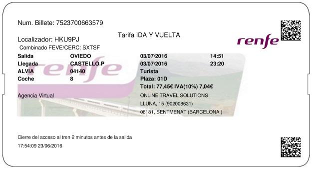 Billete Tren Oviedo  Castellón 03/07/2016