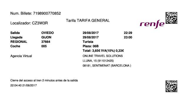 Billete Tren Oviedo  Gijón 29/08/2017