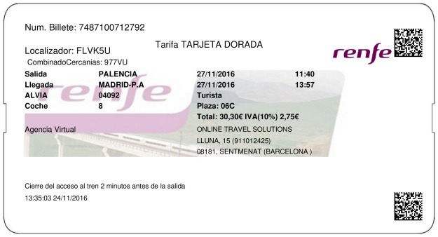 Billete Tren Palencia  Madrid 27/11/2016