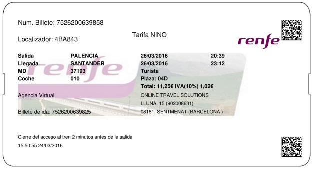 Billete Tren Palencia  Santander 26/03/2016