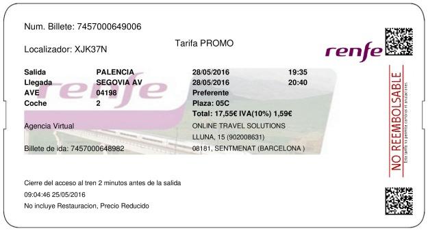Billete Tren Palencia  Segovia 28/05/2016