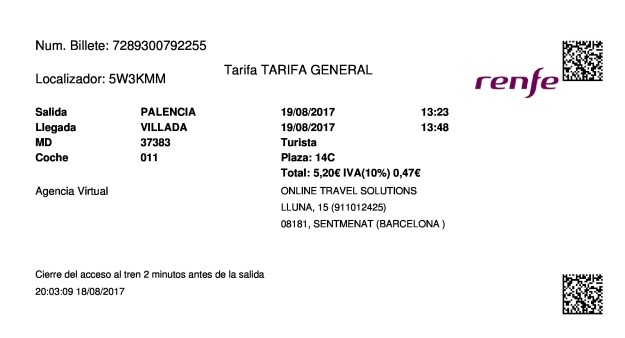 Billete Tren Palencia  Villada 19/08/2017