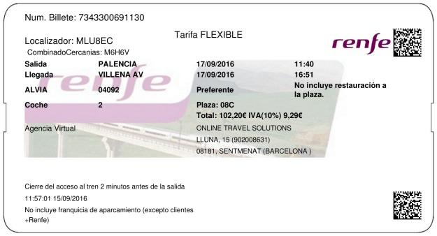 Billete Tren Palencia  Villena 17/09/2016