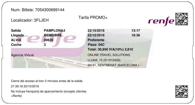 Billete Tren Pamplona  Bembibre 22/10/2016