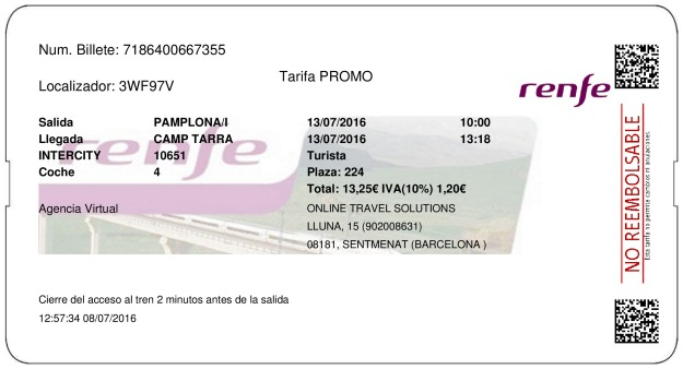 Billete Tren Pamplona  Tarragona 13/07/2016