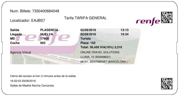 Billete Tren Plasencia  Huelva 02/09/2016