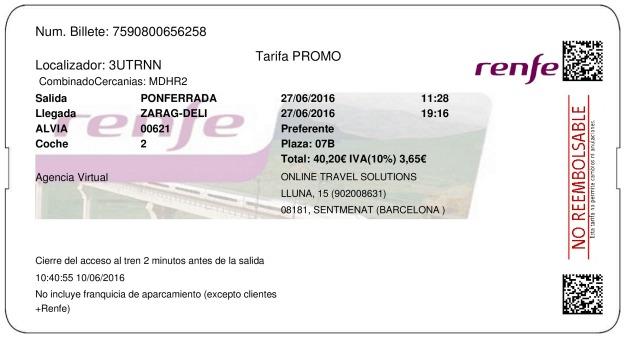 Billete Tren Ponferrada  Zaragoza 27/06/2016
