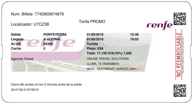 Billete Tren Pontevedra  A Gudiña 01/09/2016