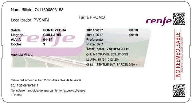 Billete Tren Pontevedra  Guillarei 10/11/2017