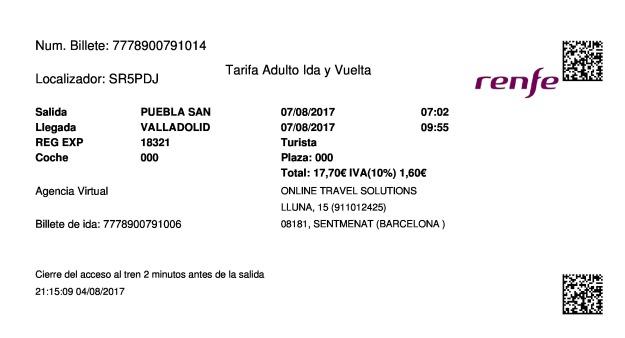 Billete Tren Puebla De Sanabria  Valladolid 07/08/2017