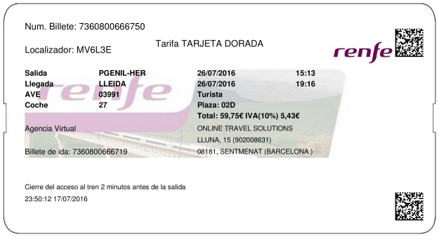 Billete Tren Bridge Genil Herrera  Lleida 26/07/2016
