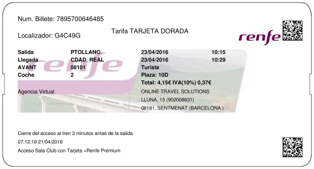 Billete Tren Puertollano  Ciudad Real 23/04/2016