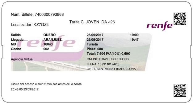 Billete Tren Quero  Aranjuez 25/09/2017