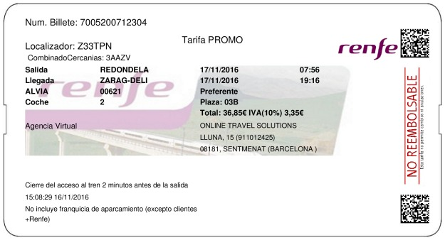 Billete Tren Redondela  Zaragoza 17/11/2016