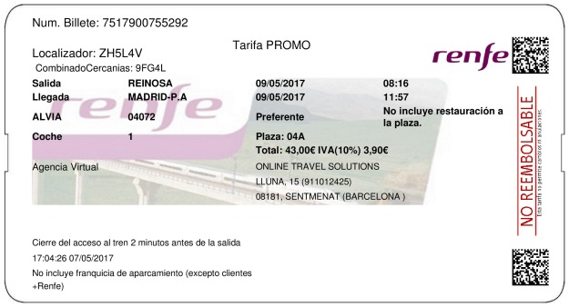 Billete Tren Reinosa  Madrid 09/05/2017